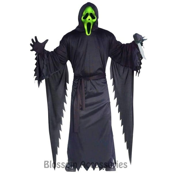 Cl795 Mens Light Up Ghost Face Scream 4 Scary Fancy Dress Up