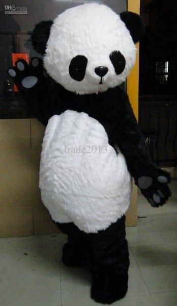 Pro Full Long Hair Panda Bear Outfit Mascot Costume Fancy Dress