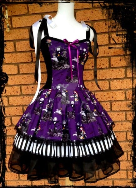 Black And White Vintage Styled Nightmare Before Christmas Dress