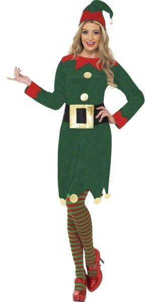 Ladies Elf Costume Sexy Santas Helper Ladies Elf Fancy Dress