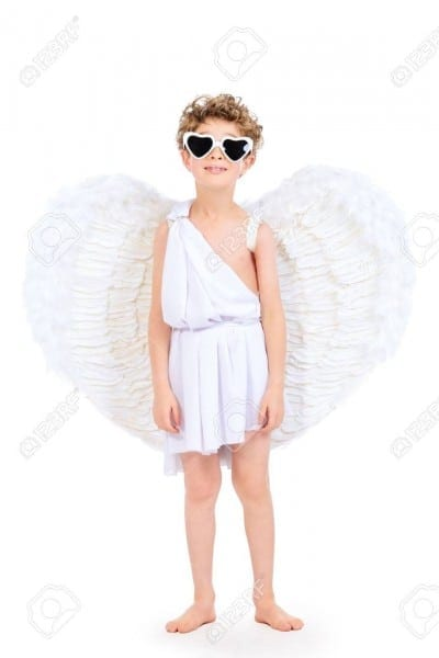 Cute Emotional Little Boy In A Costume Of Angel  Cupid