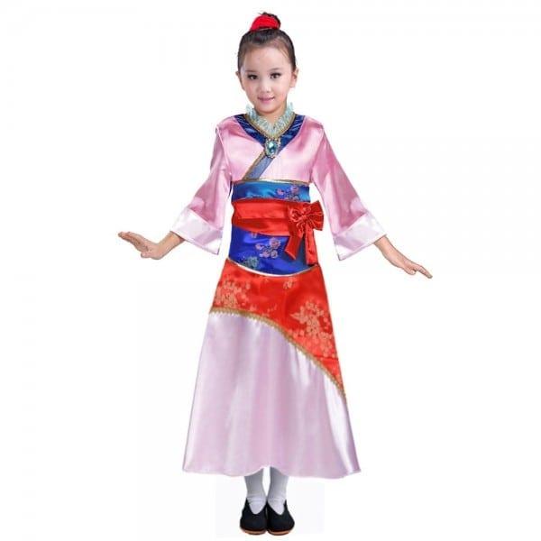 Child Mulan Costume Asian Princess Dress Up Outfit Chinese Tang