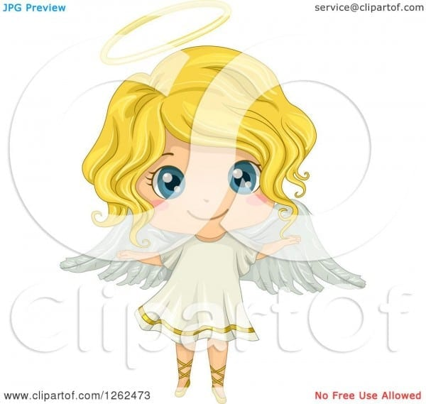 Clipart Of A Cute Blond White Girl In An Angel Costume