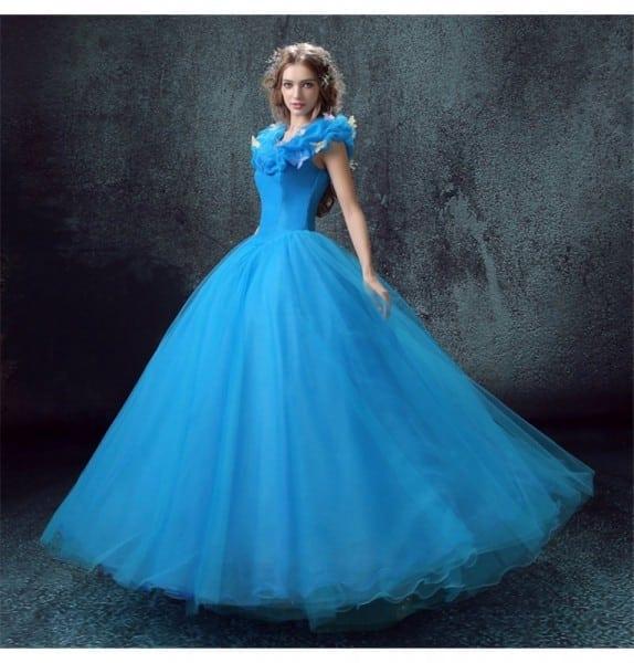 Disney Live Action Film Adult Cinderella Blue Dress Cosplay Costumes