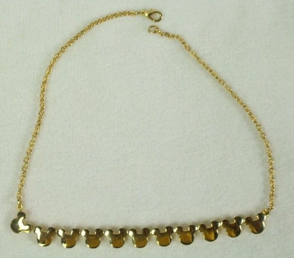 Vintage 19  Gold Tone Mickey Mouse Necklace High Quality Disney