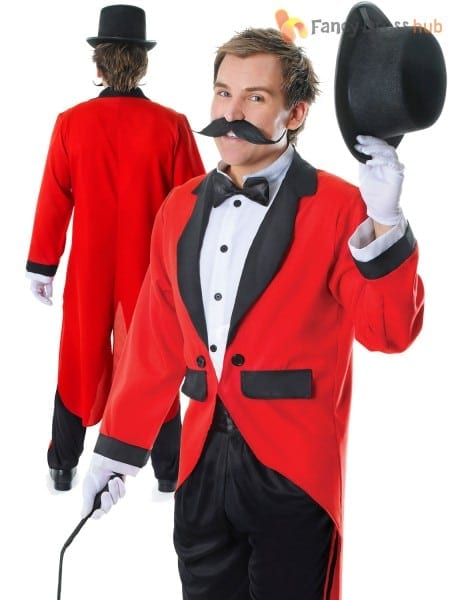Mens Ringmaster Costume Adult Circus Fancy Dress Male Lion Tamer
