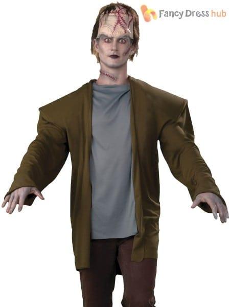 Mens Frankenstein Costume + Headpiece Adult Halloween Monster