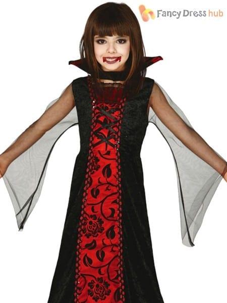 Childs Countess Vampire Costume Girls Halloween Dracula Fancy