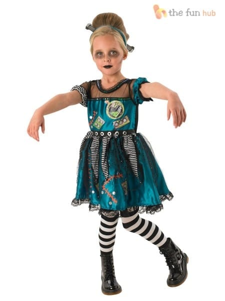 Children Frankie Frankenstein Costume Girl Halloween Fancy Dress
