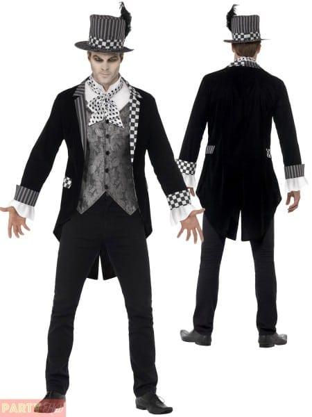 Mens Deluxe Dark Mad Hatter Costume Adults Halloween Alice Fancy