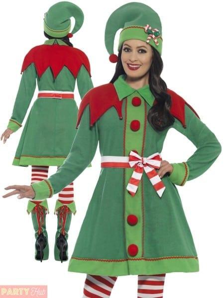 Ladies Deluxe Miss Elf Costume Adults Santas Helper Christmas