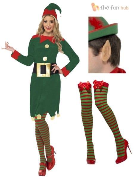 Ladies Elf Costume Christmas Santas Little Helper Womens Fancy
