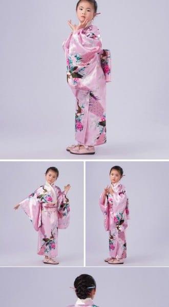 Japanese Kimono Child Costumes Asian Princess Kids Geisha Costume