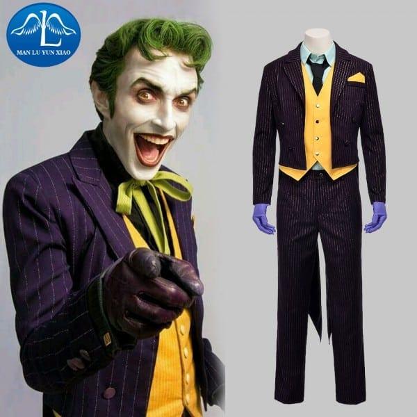 Manluyunxiao New Men's Batman Arkham Asylum Joker Cosplay Costume