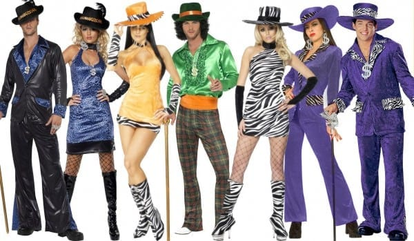 Clearance   Pimps Hoes Fancy Dress Costume Mens Womens Daddy 70s