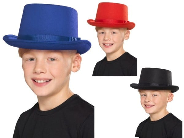 Top Hat Kids Red Black Or Blue Victorian Magicians Childs Fancy