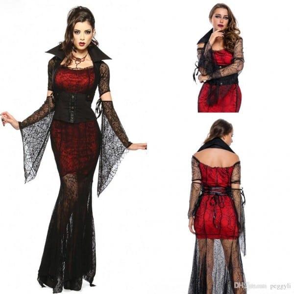 Vintage Black And Red Halloween Vixen Vampire Costume 2018 Sexy