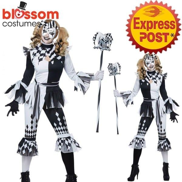 Ca714 Ladies Crazy Jester Harlequin Halloween Costume Horror Clown