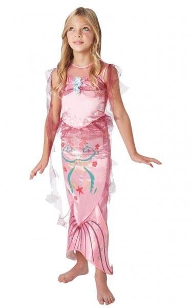 Girls Pink Little Mermaid Costume Fairy Tale Fancy Dress Child