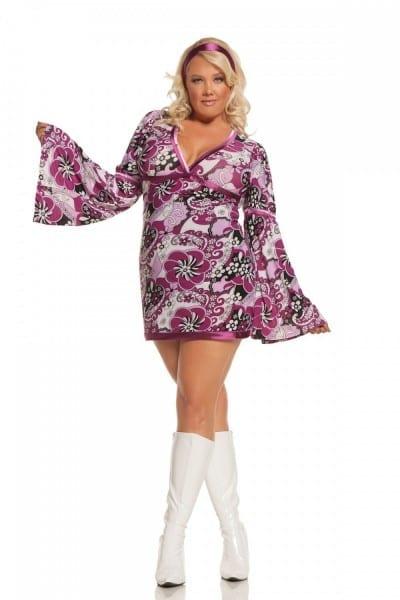 Sexy 2 Pc Adult Women's Vintage Vixen Flower Child Hippy Dress