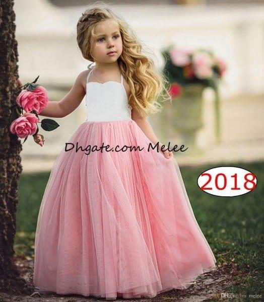 Best 1 6y Ins Girls Tutu Dresses Kids White Top Pink Ruffle