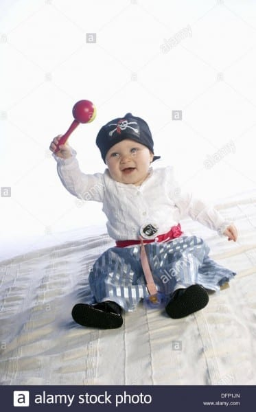 1 Year Old Girl Dressed Up In A Pirates Costume Stock Photo