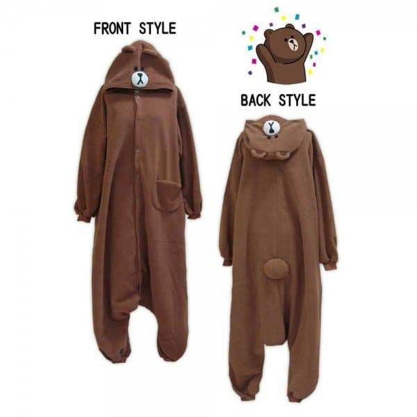 2016 New Costumes Adult Woman Man Cartoon Brown Bear Onesies