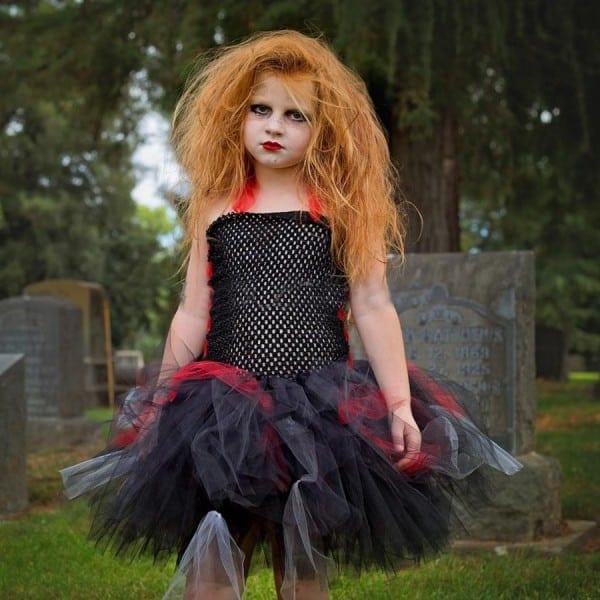 2018 2018 Keenomommy Girls Zombie Tutu Dress Black Red Halloween