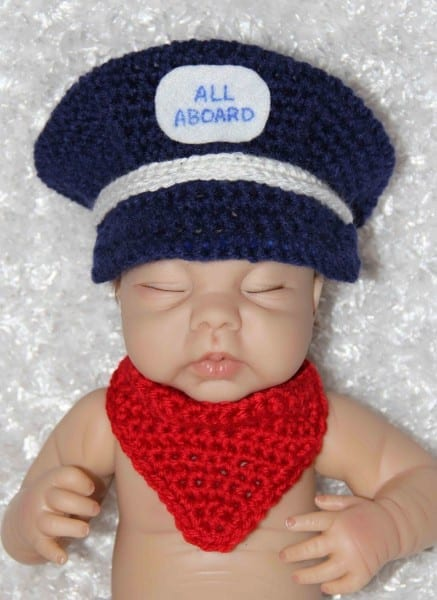 Baby Train Engineer Conductor Hat And Neckerchief