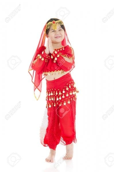 Little Girl In Traditional Indian Costume, Saree And Dancing Stock