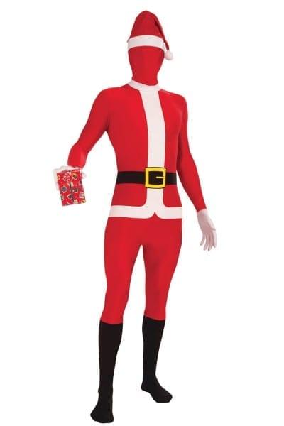 Adult Mens Santa Skin Body Suit Fancy Dress Costume Father