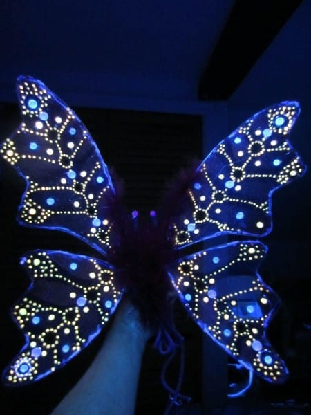 Children's Or Adult Glow In The Dark Fairy Wings Costume Hand Made