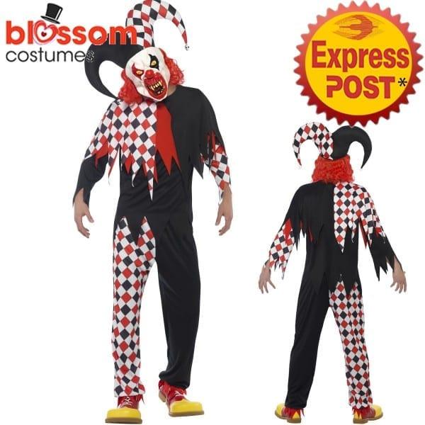 Ca441 Mens Crazed Jester Killer Clown Horror Scary Evil Halloween