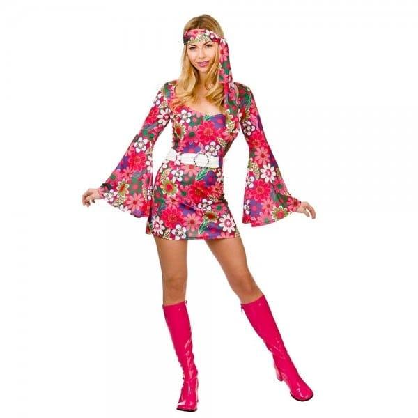 Retro 60s 70s Flower Gogo Girl Halloween Costume M
