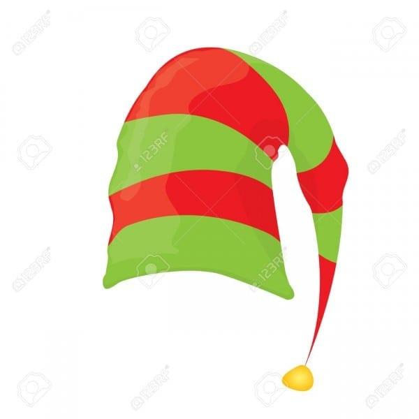 Cartoon Green Christmas Elf Hat  Vector Illustration Royalty Free
