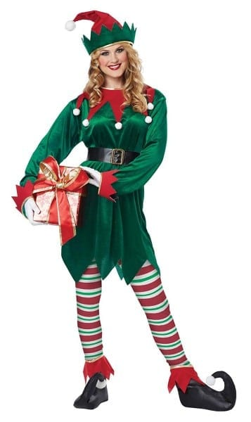 Amazon Com  California Costumes Christmas Elf Adult, Green Red