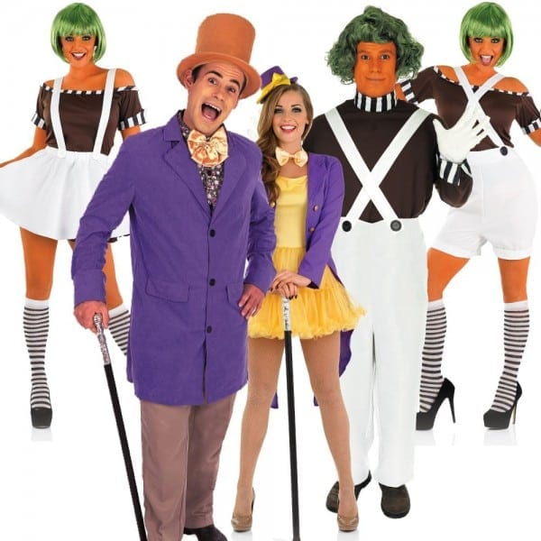 Adult Couples Oompa Loompa Costume + Wig Willy Wonka Fancy Dress