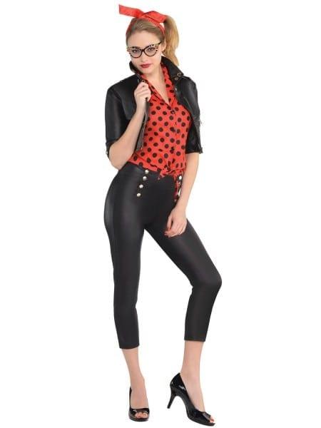 Ladies Rockin Rebel Costume Womens 50s 60s Sexy Rock N Roll Fancy