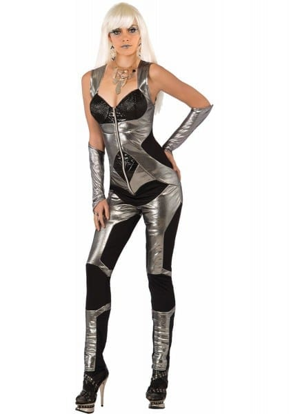 Silver Black Panel Sexy Space Futuristic Jumpsuit