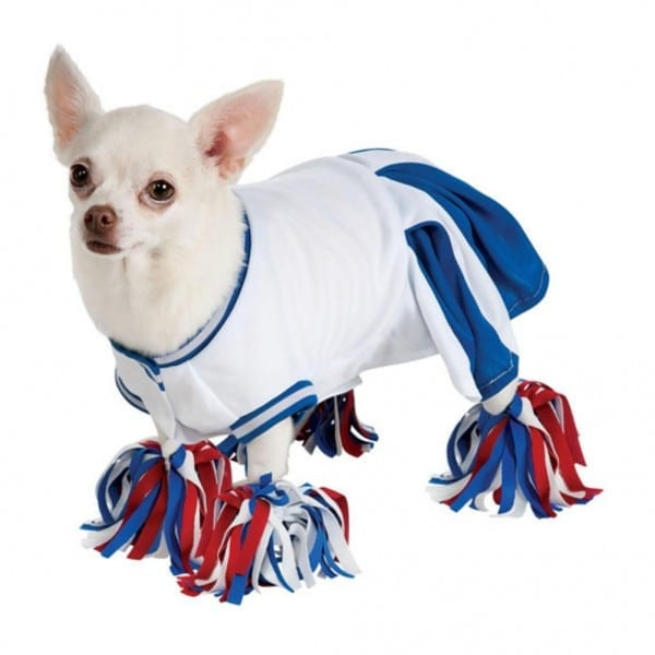 Rubies Dog Cheerleader Costume Blue Cheer Leader Pet Outfit Pom