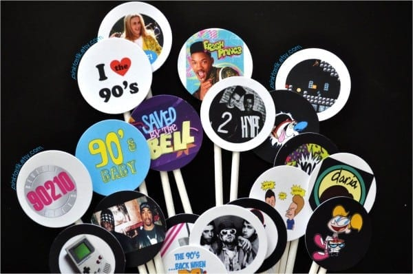 90s Party Decorations Supplies 90 S Cupcake Toppers Bacchus Bash