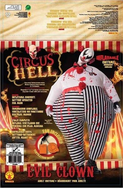 Amazon Com  Rubie's Men's Inflatable Evil Clown Costume, Multi