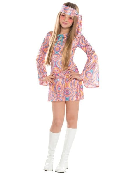Girls Teen Disco Diva 1970s 60s Fancy Dress Hippy Kids Childrens