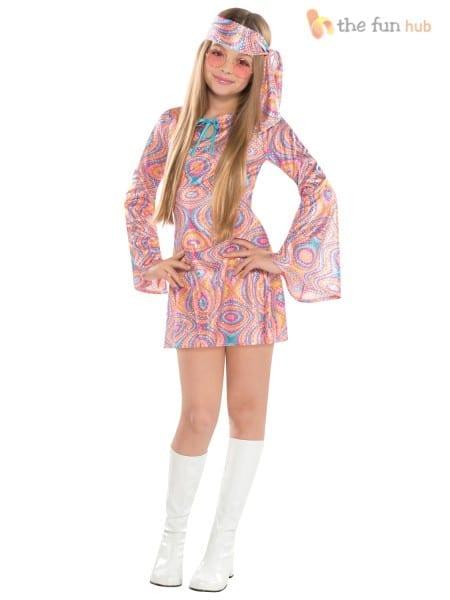 Girls Teen 60s 70s Hippy Didsco Chick Fancy Dress Costume Disco