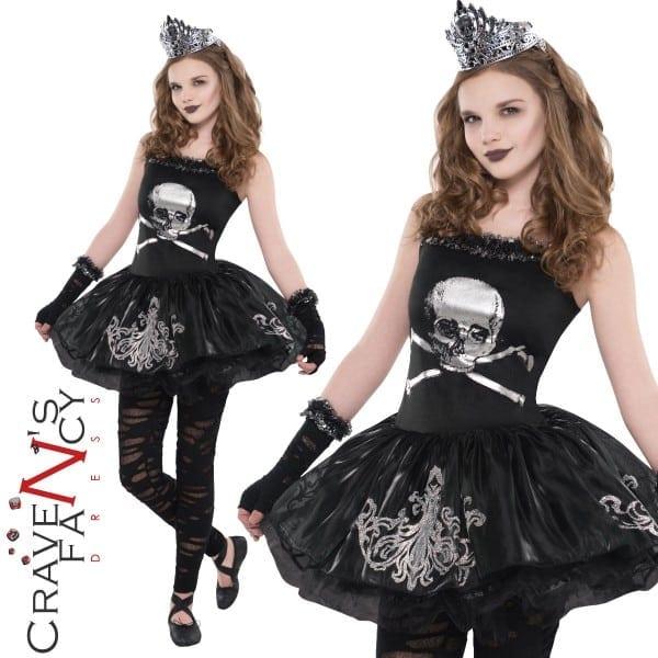 Teen Zombie Ballerina Tutu Costume Zomberina Halloween Girls Fancy