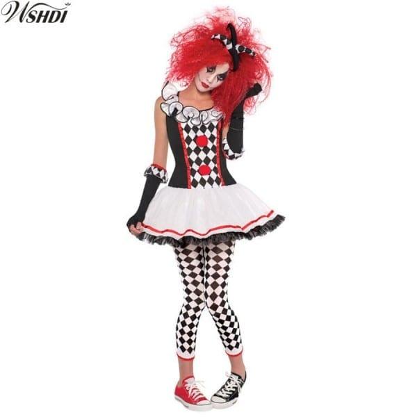 Adult Women Mardi Gras Jester Costume Party Wear Circus Clown