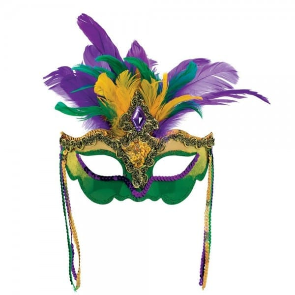 Amscan Green, Purple And Gold Feather, Sequin, Gem Mardi Gras Mask