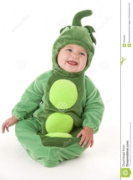 Baby In Peas In Pod Costume Smiling Stock Image
