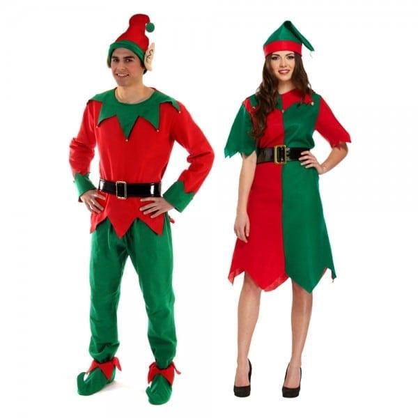 Christmas Elf Fancy Dress Party Costume Mens Womens Male Female