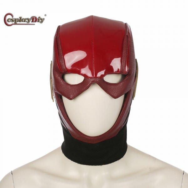 Cosplaydiy Justice League Costumes Flash Cosplay Mask Red Leather